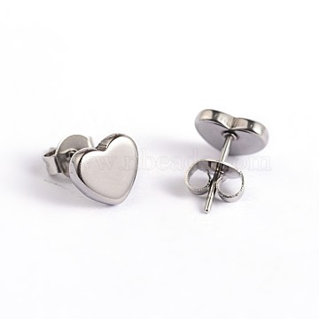 Heart 304 Stainless Steel Ear Studs, Stainless Steel Color, 7x8mm, Pin: 0.7mm(X-EJEW-F0075-056P)