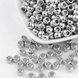 CCB perles en plastique, couleur de nickel, plat rond, 5x7mm, Trou: 4mm(PCCBKA281Y)