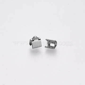 304 Stainless Steel Ribbon Crimp Ends, Stainless Steel Color, 7x6mm, Hole: 1.5x2mm(X-STAS-S112-001A-P)