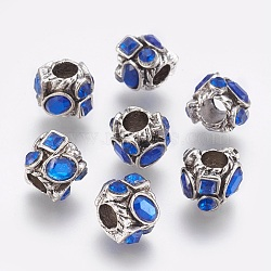 Perles européennes en alliage avec strass, avec de la résine, Perles avec un grand trou   , colonne, argent antique, bleu, 11x9.5x10mm, Trou: 4.5mm(RB-J283-06AS)