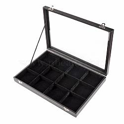 Imitation Leather and Wood Display Boxes, with Glass, Rectangle, Black, 24x35x4.5cm(ODIS-R003-05)