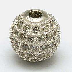 rondes 925 perles en argent sterling, avec micro ouvrir zircons, platine, 6 mm, trou: 1 mm(STER-O021-01S-6mm)