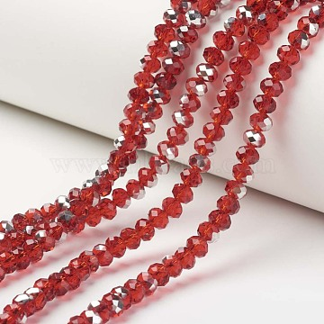 "Electroplate Transparent Glass Beads Strands, Half Silver Plated, Faceted, Rondelle, Red, 10x8mm, Hole: 1mm; about 62pcs/strand, 22.05""(56cm)(EGLA-A034-T10mm-M05)"