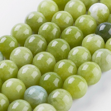 Natural Peridot Bead Strands, Round, 10mm, Hole: 0.8mm; about 38pcs/strand, 15.3inches(39cm)(G-P358-01-10mm)