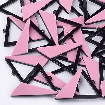 Cellulose Acetate(Resin) Big Pendants, Triangle, Pink, 51x42.5x5mm, Hole: 2mm(X-KY-S157-49A)