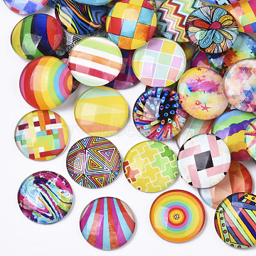 Glass Cabochons, with Self-Adhesive, for DIY Jewelry Making, Half Round with Mixed Patterns, Geometric Pattern, 25x6mm(X-GGLA-R040-25mm-04)