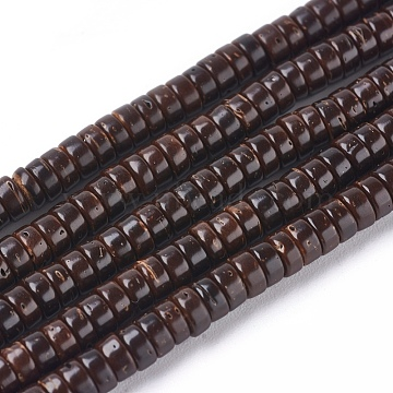 Coconut Beads Strands, Flat Round, CoconutBrown, 4x2mm, Hole: 1mm; about 330~331pcs/strand, 26inches(66cm)(X-COCO-O009-03-4x2mm)