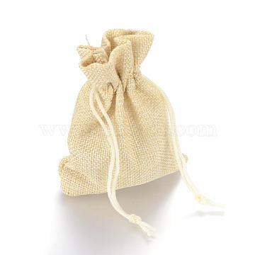Burlap Packing Pouches Drawstring Bags, Lemon Chiffon, 13.5~14x9.5~10cm(ABAG-Q050-10x14-13)