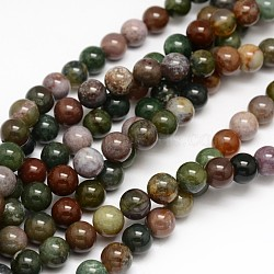 Natural Indian Agate Round Beads Strands, 10mm, Hole: 1mm; about 38pcs/strand, 15.3inches
