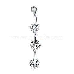 Bijoux piercing, anneau de nombril de zircon cubique en laiton environnemental, anneaux de ventre, avec les accessoires en acier inoxydable, plat rond, clair, platine, 50x8mm(AJEW-EE0002-04P)
