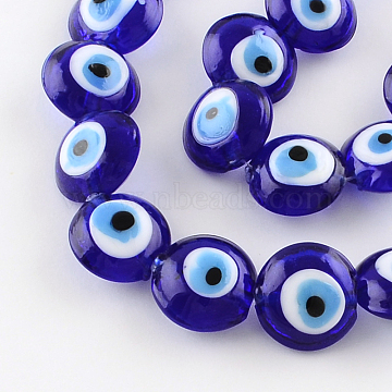 Flat Round Evil Eye Lampwork Bead Strands, Blue, 15~16x8~9mm, Hole: 2mm; about 24pcs/strand, 13.7 inches(LAMP-R118-01)