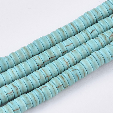 Synthetic Turquoise Beads Strands, Dyed, Heishi Beads, Flat Round/Disc, DarkTurquoise, 4x2mm, Hole: 1mm; about 179pcs/strand, 15.3''(X-TURQ-S282-22C)