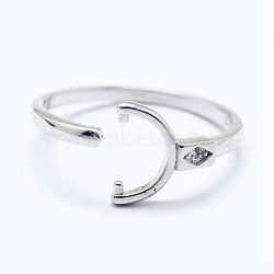 Adjustable 925 Sterling Silver Cuff Finger Ring Components, For Half Drilled Beads, with Cubic Zirconia, Clear, Platinum, Size: 6, 16mm; Tray: 6x3mm; Pin: 0.8mm(STER-I016-045P)