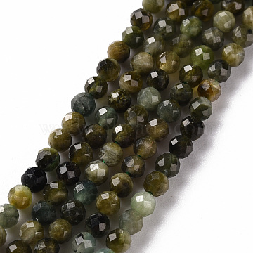 Natural Tourmaline Beads Strands, Round, Faceted, 3mm, Hole: 0.5mm, about 119~120pcs/strand, 15.35 inches(39cm)(G-S362-111B)