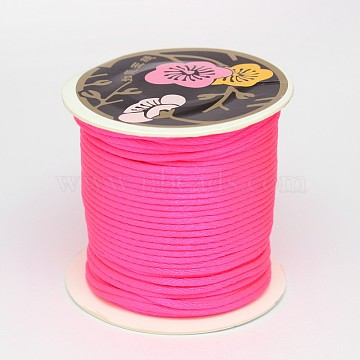 Nylon Thread, Rattail Satin Cord, Deep Pink, 2mm, about 25.15 yards(23m)/roll(LW-K001-2mm-F106)