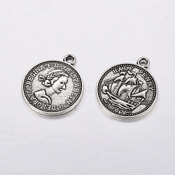 Pendentifs de style tibétain , sans plomb et sans nickel, pièce de monnaie, couleur argent antique, 23x19x1mm, Trou: 1.5mm(X-TIBEP-A19776-AS-FF)