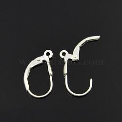 серебряные серьги-кольца, серебро, 16x9x3 mm, отверстия: 1 mm(STER-A002-181)