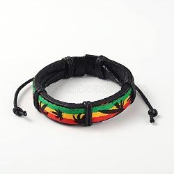 Bracelets réglables unisexe en corde de peau de vache, avec cordon de tissu, colorées, 52x55mm(BJEW-L544-04B)