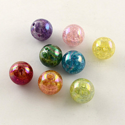 Couleur ab crépitement transparente acrylique perles rondes, couleur mixte, 20mm, Trou: 2.5mm(X-CACR-S006-M)