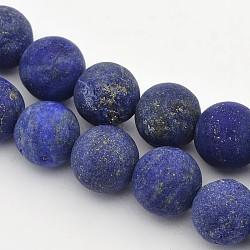 """Chapelets de perles rondes en lapis lazuli mat naturel, 8mm, trou: 1mm; environ 47~49 pcs/chapelet, 14.9~15.6""""(G-E302-110-8mm)"""