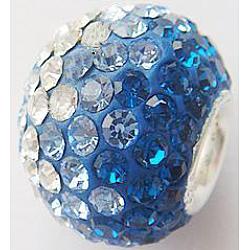 Perles européennes avec cristal autrichien de simple core en argent sterling , Perles avec un grand trou   , rondelle, 243 bleu _capri, 14x12mm, Trou: 4.5mm(CPDL-D001-5)