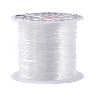 Flat Elastic Crystal String, Elastic Beading Thread, for Stretch Bracelet Making, Dyed, White, 0.8mm, about 12.02 yards(11m)/roll(X-EW014)
