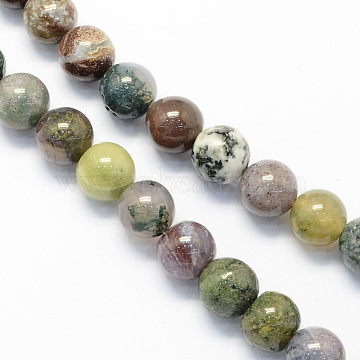 Round Natural Indian Agate Beads Strands, 8mm, Hole: 1.5mm; about 48pcs/strand, 15.1inches(X-G-S122-8mm)