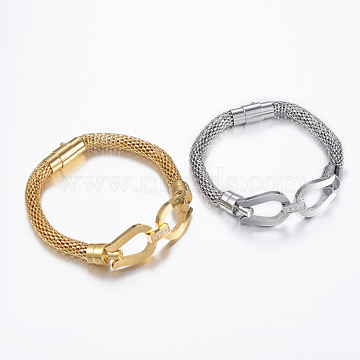304 Stainless Steel Bracelets, with Cubic Zirconia, with Clasps, Mixed Color, 8-1/8 inches(205mm); 6x8.5mm(BJEW-H497-18)