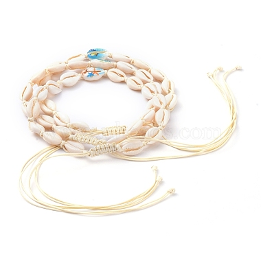Adjustable Printed Cowrie Shell Braided Beaded Necklaces(NJEW-JN02790)-2