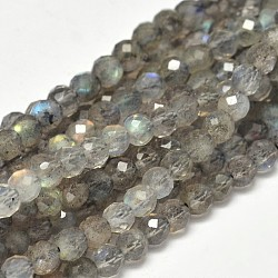 Faceted Round Natural Labradorite Bead Strands, 4mm, Hole: 0.5mm; about 98pcs/strand, 15.5inches