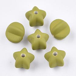Perles acryliques, de Style caoutchouté, étoiles, olive, 14x16x16.5mm, trou: 3 mm; environ 265 pcs / 500 g(OACR-S030-10B)