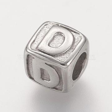 316 Surgical Stainless Steel European Beads, Large Hole Beads, Cube with Letter.D, 8x8x8mm, Hole: 4mm(STAS-G134-01P-D)