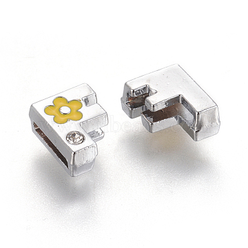 Alloy Rhinestone Slide Charms, with Enamel, Letter.F with Yellow Flower, Platinum Metal Color, 8.5x10.5x4.5mm, Hole: 2x8mm(X-ALRI-F003-04F)