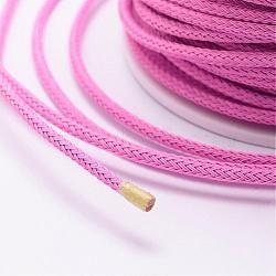 Câble de fil d'acier tressé, bricolage bijoux matériau de fabrication, hotpink, 3.2mm; environ 10yards / roll (9.144m / roll)(OCOR-P003-3.2mm-01)