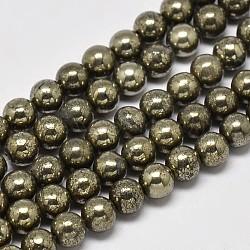 """Chapelets de perles rondes en pyrite naturelle, Grade a, 4mm, trou: 0.8mm; environ 100 pcs/chapelet, 16""""(G-F197-10-4mm)"""