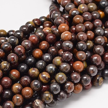 Natural Red Tiger Iron Round Bead Strands, 6mm, Hole: 1mm, about 62pcs/strand, 15.3 inches(X-G-P075-22-6mm)