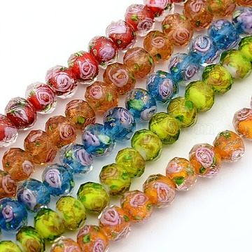 Handmade Gold Sand Lampwork Rondelle Beads Strands, Faceted, Mixed Color, 10x7mm, Hole: 2mm, about 50pcs/strand, 13.77 inches(LAMP-L003-A-M)
