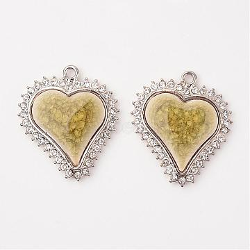 Heart Alloy Porcelain Pendants, with Rhinestones, Platinum, DarkKhaki, 39x34x5.5mm, Hole: 2mm(PALLOY-L192-03P)
