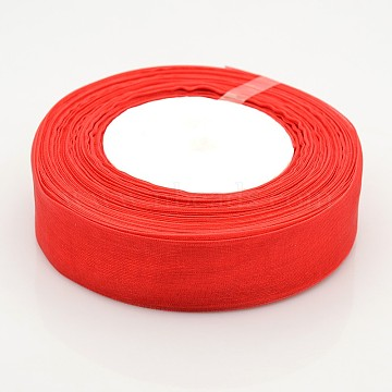 Sheer Organza Ribbon, Christmas Ribbon, Christmas Ribbon, Wide Ribbon for Wedding Decoration, Red, 1 inches(25mm), 50yards/roll(45.72m/roll)(X-RS25mmY026)