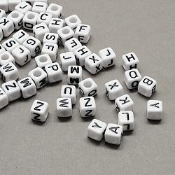 Большая акриловая отверстие алфавит европейских бисер, белый и черный, куб с письмом, cmешанный, 7~8x7~8x7~8 мм, Отверстие : 4 мм ; около 1144 шт / 500 г(SACR-Q103-7mm-01)