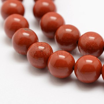 Natural Red Jasper Beads Strands, Grade AA, Round, 6mm, Hole: 1mm, about 63pcs/strand, 15.5 inches(39cm)(X-G-E375-6mm-02)
