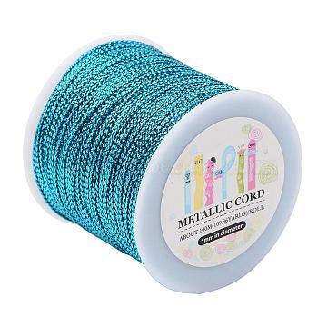 Jewelry Braided Thread Metallic Cords, DodgerBlue, 1mm; 109.36yards/roll(100m/roll)(MCOR-JP0001-04)