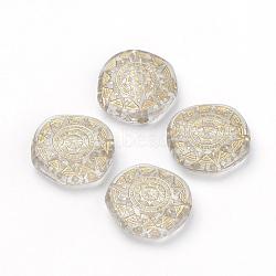 Perles acryliques transparentes, métal doré enlaça, plat rond, clair, 18x17.5x6mm, Trou: 2mm(X-PACR-Q115-45)
