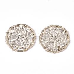 подвесные украшения из полиэстера, с железом выводы, плоские круглые с цветком, светлое золото, белье, 28x2 mm(FIND-S283-05G)