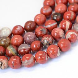 """Jaspe rouge naturel brins de perles rondes, 8~8.5mm, trou: 1mm; environ 47 pcs/chapelet, 15.5""""(G-E334-8mm-27)"""