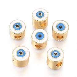 Brass Enamel Beads, Column with Evil Eye, Golden Plated, Golden, 7.5x7mm, Hole: 2.5mm(X-KK-L189-21G)