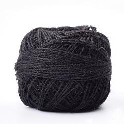 Fils de coton, 3 pli, avec bobine, noir, 0.5 mm; environ 350 mètres / rouleau(OCOR-T009-03)