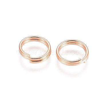 304 Stainless Steel Split Rings, Rose Gold, 10x2mm; Inner Diameter: 8mm; Single Wire: 1mm(STAS-E484-70E-RG)