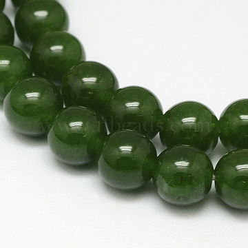 Natural TaiWan Jade Bead Strands, Dyed, Round, Dark Green, 8mm, Hole: 1mm, about 48pcs/strand, 15.5 inches(X-G-F342-03-8mm)