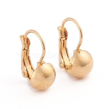 304 Stainless Steel Leverback Earrings, Half Round, Golden, 16x11.5mm; Half Round: 8mm; Pin: 0.7mm; 12pairs/board(EJEW-L232-038C-G)